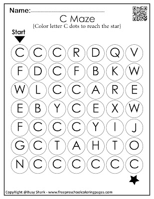 Letter C dot markers free preschool coloring pages ,learn alphabet ABC for toddlers