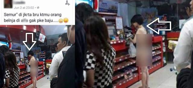Wanita Cantik Belanja di Mini Market di Jakarta Tanpa Busana