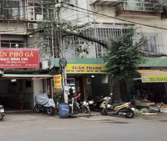 Địa chỉ quán cắt tóc Tuấn Thanh: Chung cư bộ công an, đường số 3, Bình An, Quận 2