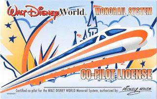 Monorail Co-Pilot License Walt Disney World