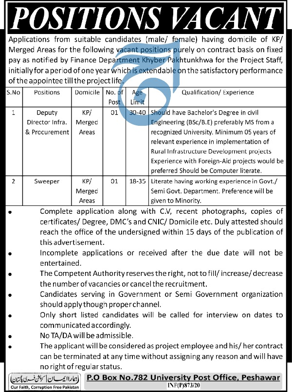 Jobs in Finance Department Govt of Khyber Pakhtunkhwa 2020