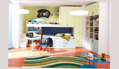 Picture for Cool Bunk Beds For Girls One Person And A Desk With Rack and Good Floor Color
