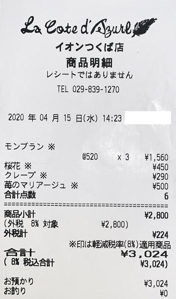 コート・ダジュール イオンつくば店 2020/4/15 のレシート