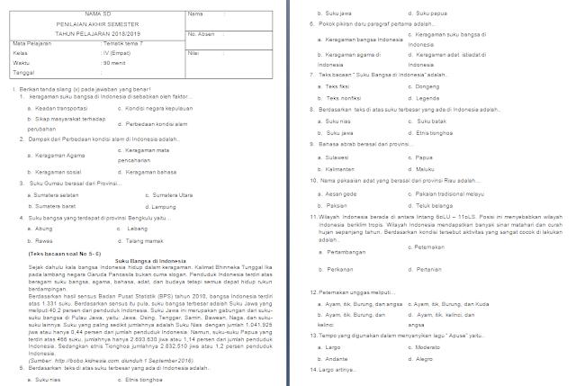 Soal PAS Kelas 4 SD/MI: Tema 7