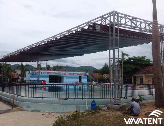 mái xếp di động cho không gian bể bơi