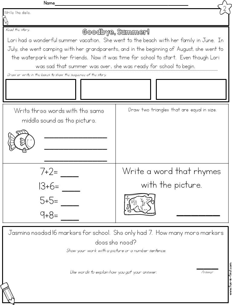 Fun Worksheets 2nd Grade : Nd grade morning work fun in first