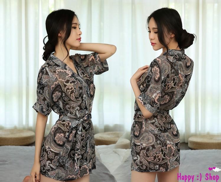 Áo choàng nữ kimono voan hoa gợi cảm 3