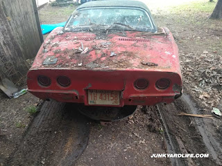 Rear deck of the 1968 Corvette covered in animal waste and debris from decades in storage.