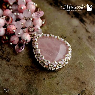 Miracolo, kwarc różówy, pink quartz, quartz pendant