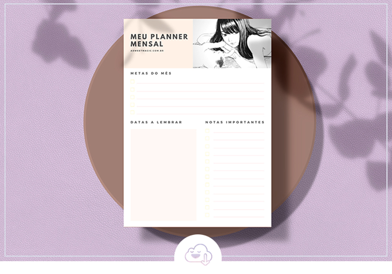 Freebie: Planner Mensal Mangá - Download Gratuito