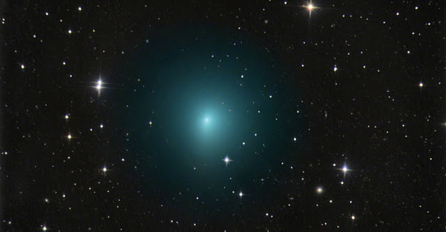 In this image taken March 24, 2017, comet 41P/Tuttle-Giacobini-Kresák is shown moving through a field of faint galaxies in the bowl of the Big Dipper. On April 1, the comet will pass by Earth at a distance of about 13 million miles (0.14 astronomical units), or 55 times the distance from Earth to the moon; that is a much closer approach than usual for this Jupiter-family comet. Credits: image copyright Chris Schur, used with permission