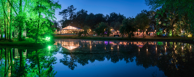 The lake at West Green House at night