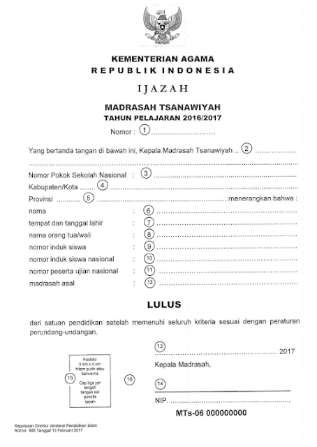 Contoh ijazah TIngkat MTS