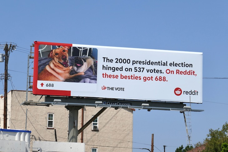 Reddit dog besties Up the vote billboard