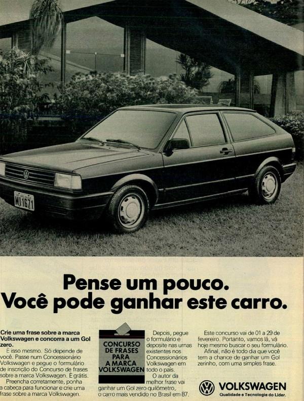 Anúncio da Volkswagen promovendo um concurso cultural em 1988