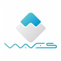 Waves cryptocurrency Logo Image i white and blue