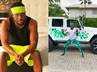 'And We Move' - Paul Okoye Writes As He Sprays His White Mercedes SUV With #EndSars (VIDEO)