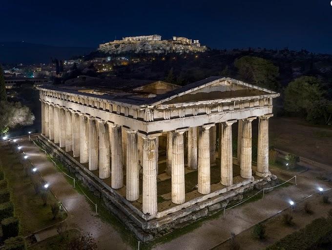 Νέος φωτισμός στον ναό του Ηφαίστου και στο μνημείο Φιλοπάππου