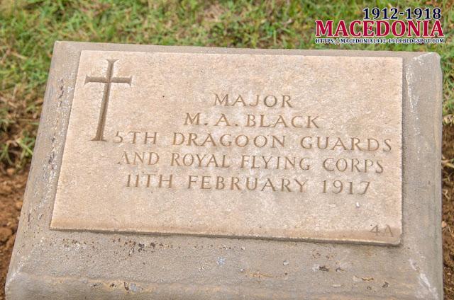 Gravestone - Major M.A. Black - British Military WW1 Cemetery in Skopje