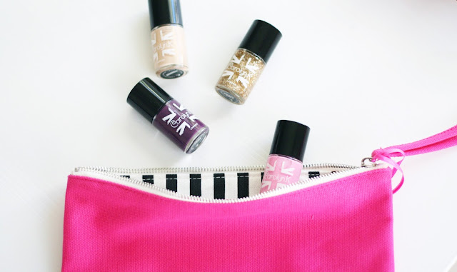 Carolyn.k Nail paints and make up bag, British brand