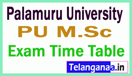 Palamuru University Msc Exam Time Table