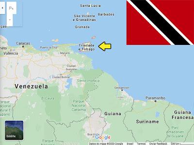 Países pequenos promovidos pelo futebol: localização no mapa de Trinidade e Tobago