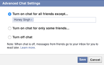 Only appear online to selected friends