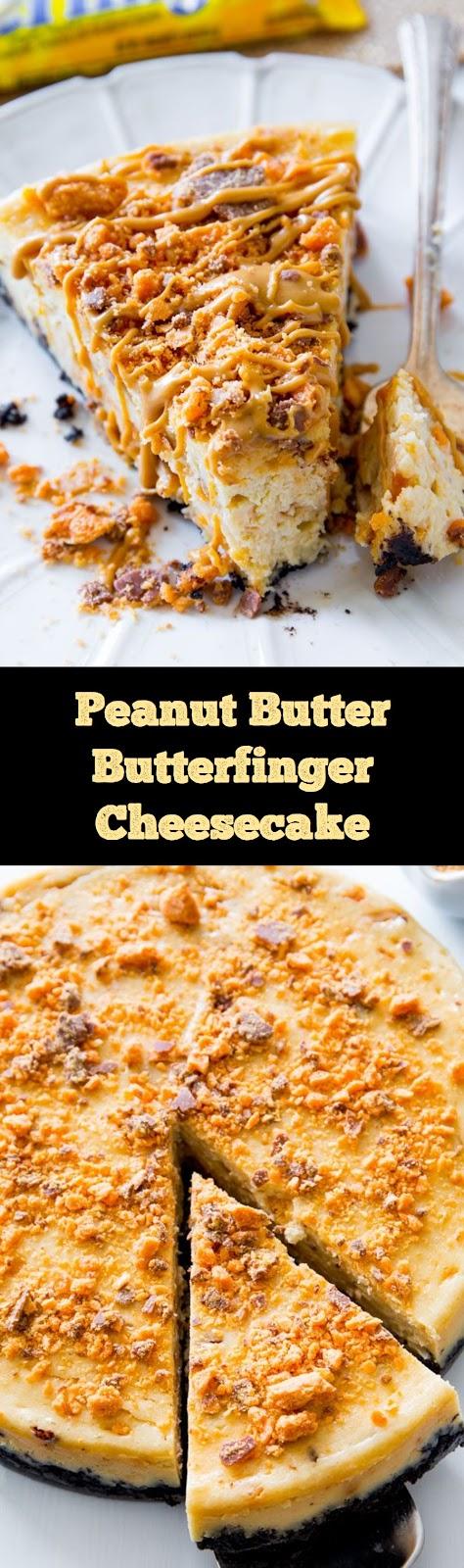 Peanut Butter Butterfinger Cheesecake