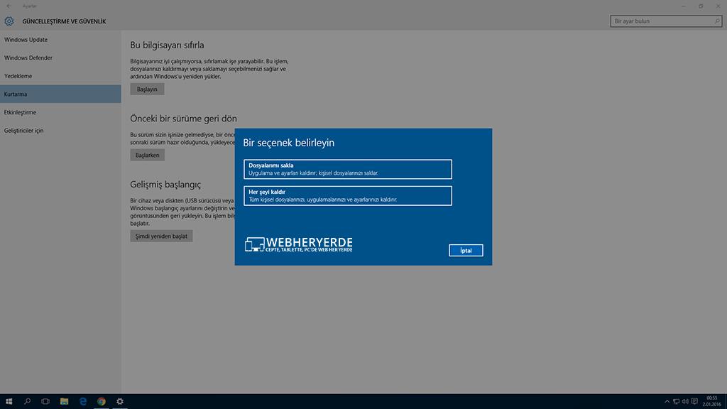Windows 10 Nasıl Sıfırlanır?