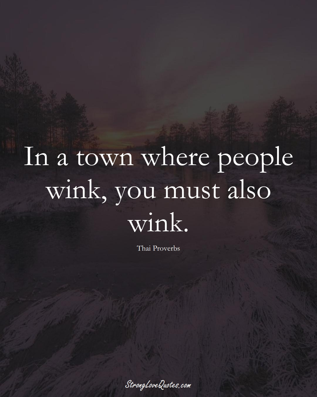 In a town where people wink, you must also wink. (Thai Sayings);  #AsianSayings