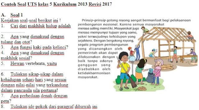 Soal UTS Kurikulum 2013 Revisi 2017 Kelas 5 SD Semester 1