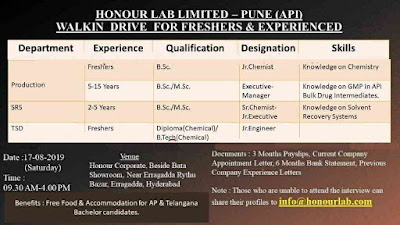 Honor Labs - Walk-in drive for Freshers and Experienced - Production/SRS/TSD on 17th August, 2019