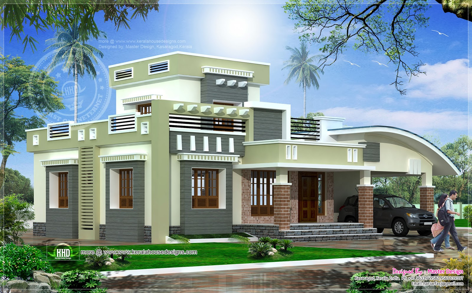 Single floor 2 bedroom house in 1628 kerala home for Single house design