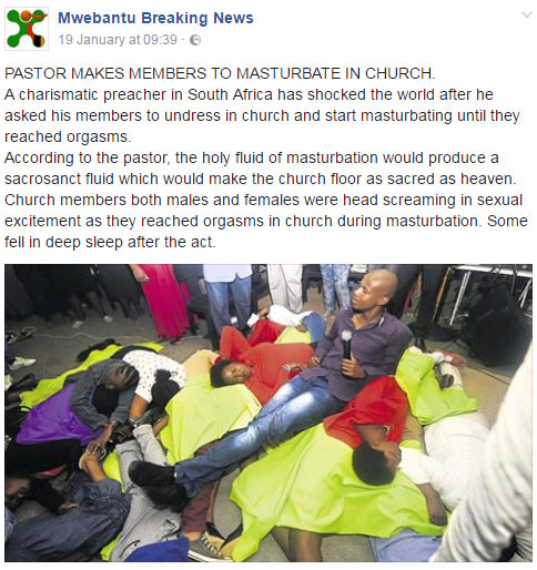 Dafuq? This pastor allegedly asked church members to masturbate (See pic)