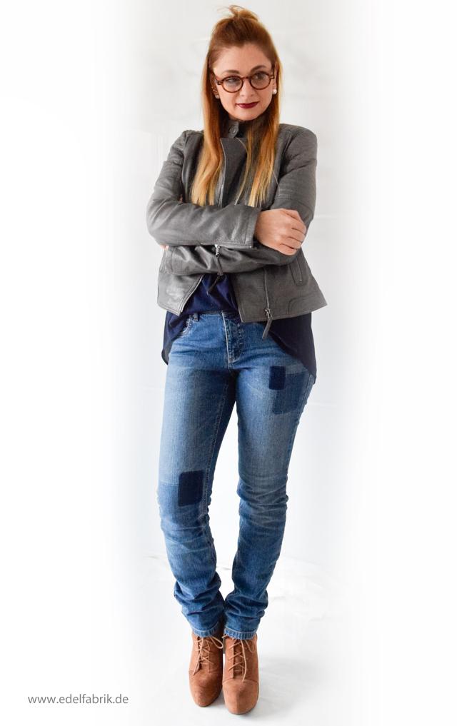Jeans und Lederjacke aus der Helene Fischer Kollektion von Tchibo, die Edelfabrik