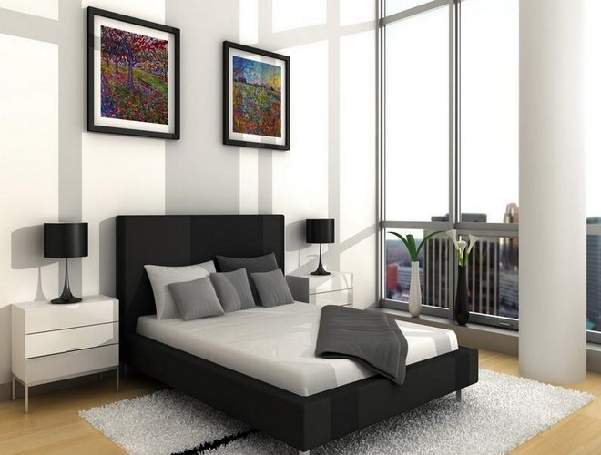 Simple black and white bedroom ideas for modern house - Mens small bedroom ideas ...