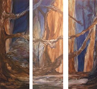 98 - Triptyque au clair de lune - © Edith Smets - 150/110 - huile et sable sur toile de lin