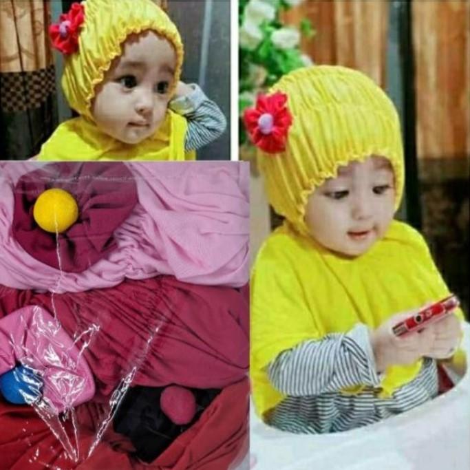 Jilbab Bayi Kerut Bunga FA-094