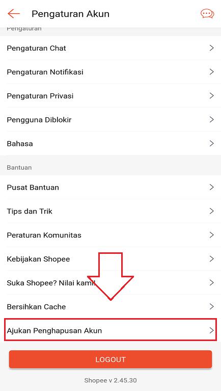 Opsi Akujan Penghapusan Akun di Pengaturan Akun Aplikasi Shopee.