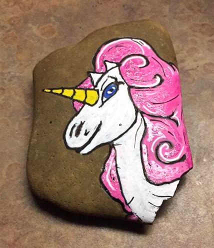 pink mane unicorn painted rock
