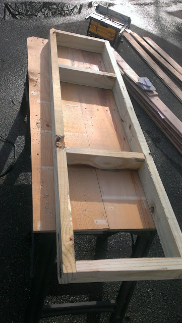 Framing a sauna bench from pressure treated 2x4s