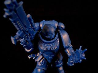 An Intercessor Space Marine with auspex from Warhammer 40,000: First Strike.