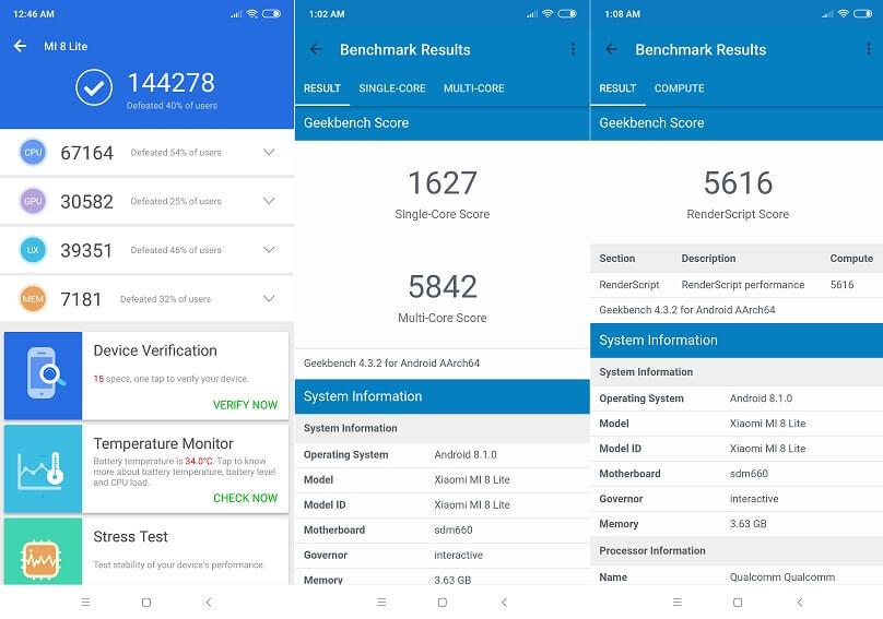 Xiaomi Mi 8 Lite Benchmark Results