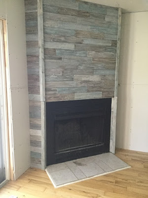Reclaimed Wood Look Fireplace Face