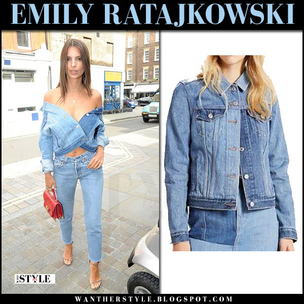 Emily Ratajkowski in denim levis trucker jacket and jeans what she wore june 30 2017 streetstyle