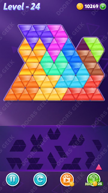 Block! Triangle Puzzle 12 Mania Level 24 Solution, Cheats, Walkthrough for Android, iPhone, iPad and iPod