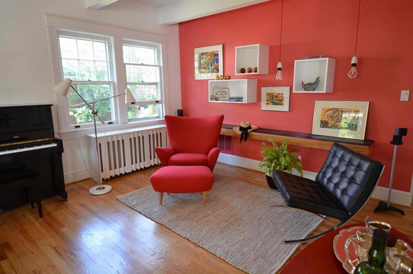 Penggunaan Warna Merah di Ruang Tamu Minimalis