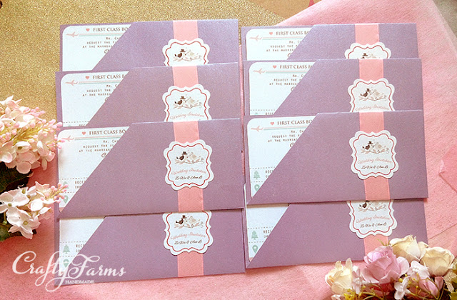 Purple and Pink Boarding Pass Wedding Invitations