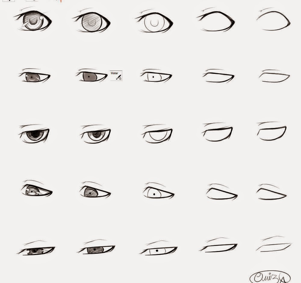 Scribble Eyes Drawing : How to draw anime male eyes step by learn