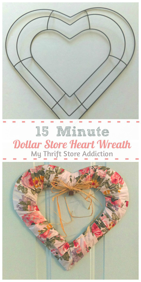 15 minute dollar store heart wreath
